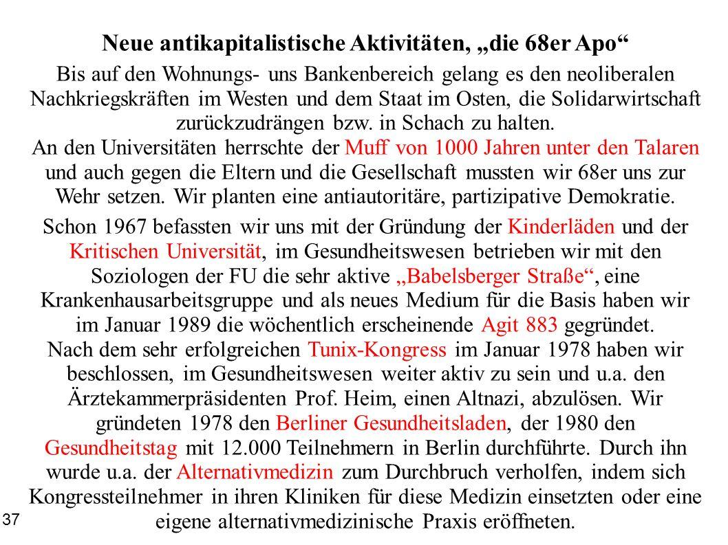Neue antikapitalistische Aktivitäten, die 68er Apo Bis auf den Wohnungs- uns Bankenbereich gelang es den neoliberalen Nachkriegskräften im Westen und