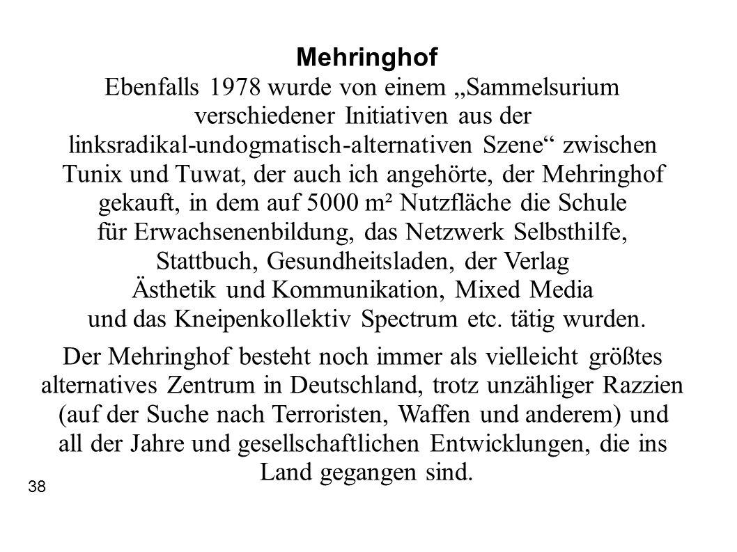 Mehringhof Ebenfalls 1978 wurde von einem Sammelsurium verschiedener Initiativen aus der linksradikal-undogmatisch-alternativen Szene zwischen Tunix u