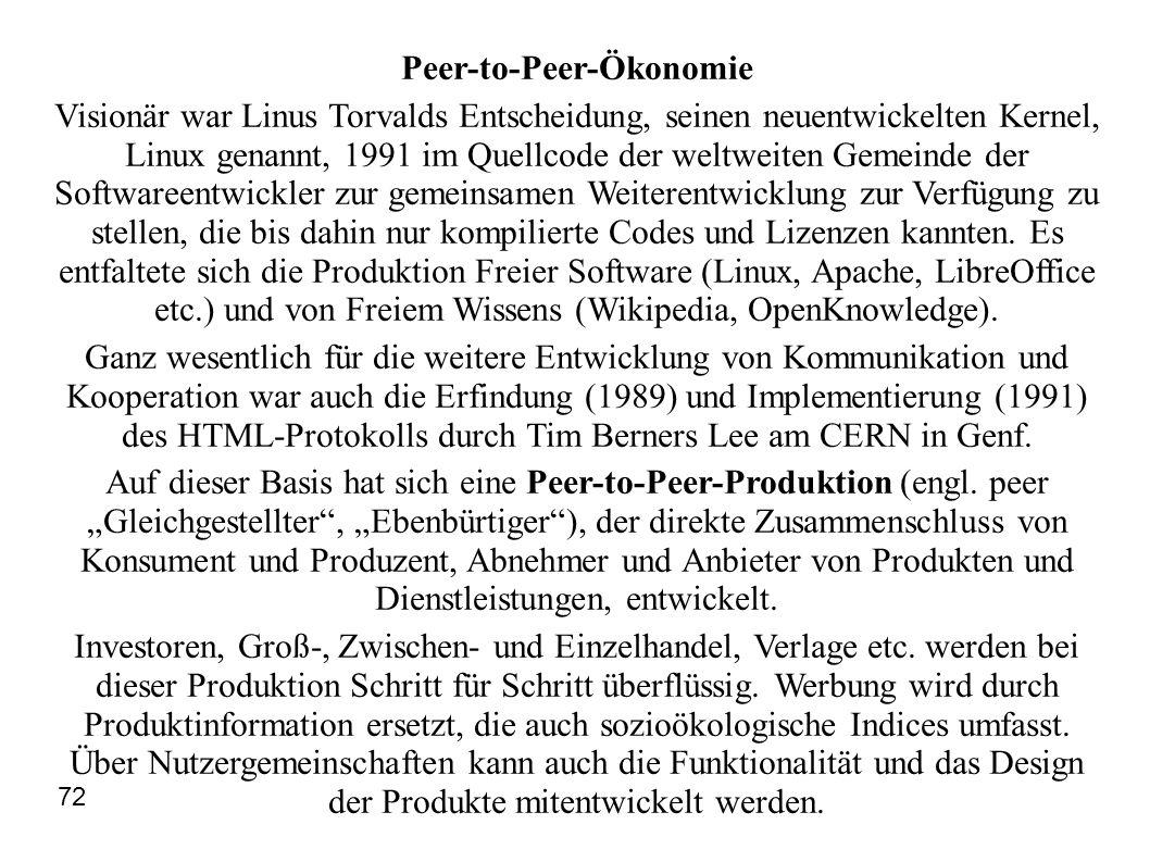 Peer-to-Peer-Ökonomie Visionär war Linus Torvalds Entscheidung, seinen neuentwickelten Kernel, Linux genannt, 1991 im Quellcode der weltweiten Gemeind