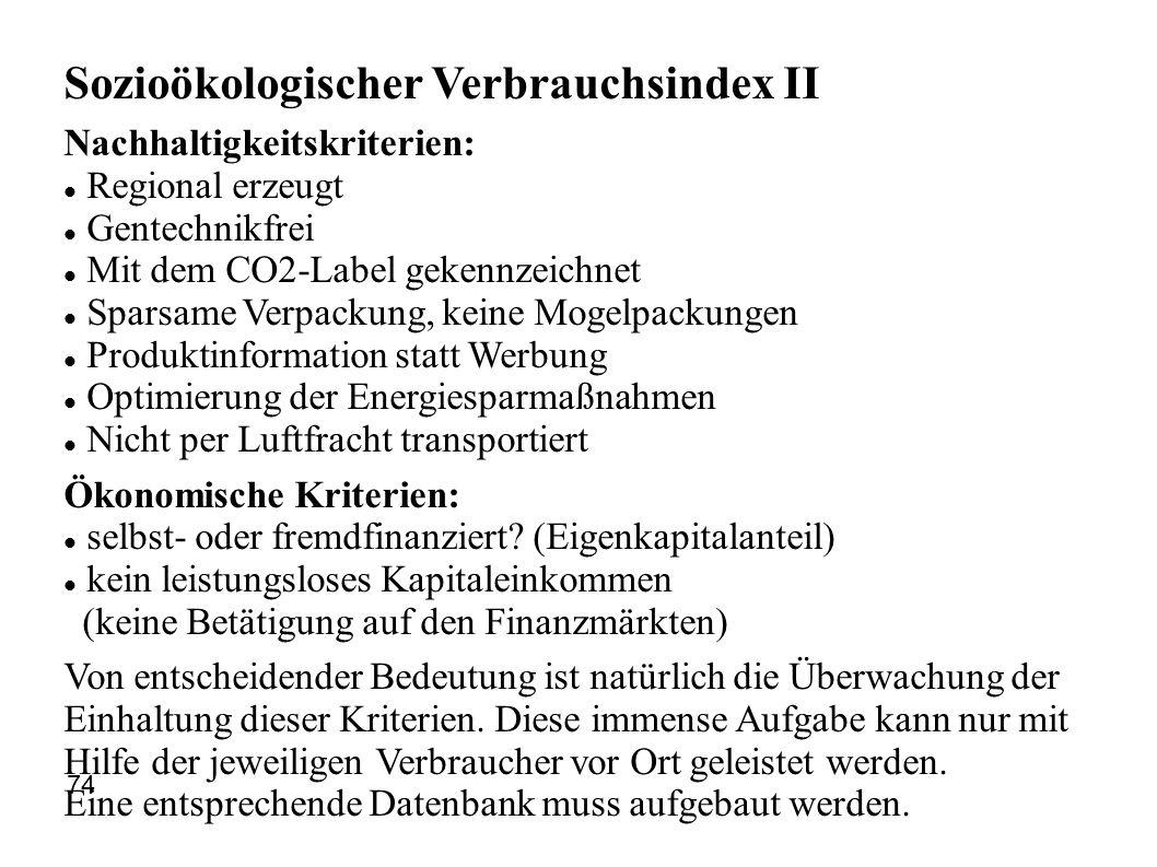 Sozioökologischer Verbrauchsindex II Nachhaltigkeitskriterien: Regional erzeugt Gentechnikfrei Mit dem CO2-Label gekennzeichnet Sparsame Verpackung, k