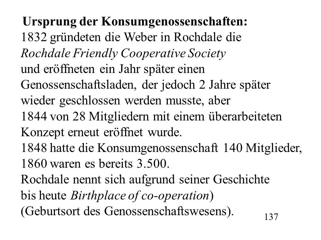 Ursprung der Konsumgenossenschaften: 1832 gründeten die Weber in Rochdale die Rochdale Friendly Cooperative Society und eröffneten ein Jahr später ein