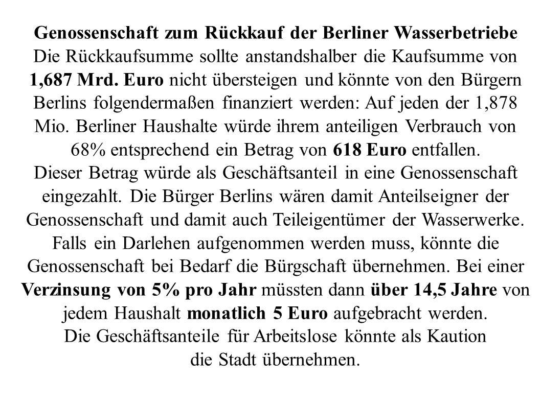 Genossenschaft zum Rückkauf der Berliner Wasserbetriebe Die Rückkaufsumme sollte anstandshalber die Kaufsumme von 1,687 Mrd. Euro nicht übersteigen un