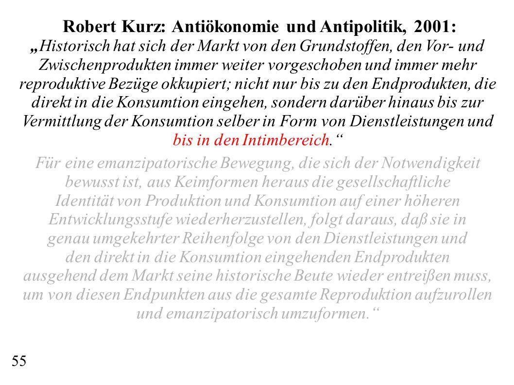 Robert Kurz: Antiökonomie und Antipolitik, 2001: Historisch hat sich der Markt von den Grundstoffen, den Vor- und Zwischenprodukten immer weiter vorge