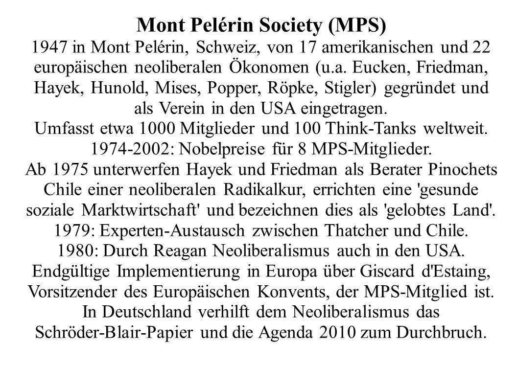 Mont Pelérin Society (MPS) 1947 in Mont Pelérin, Schweiz, von 17 amerikanischen und 22 europäischen neoliberalen Ökonomen (u.a. Eucken, Friedman, Haye