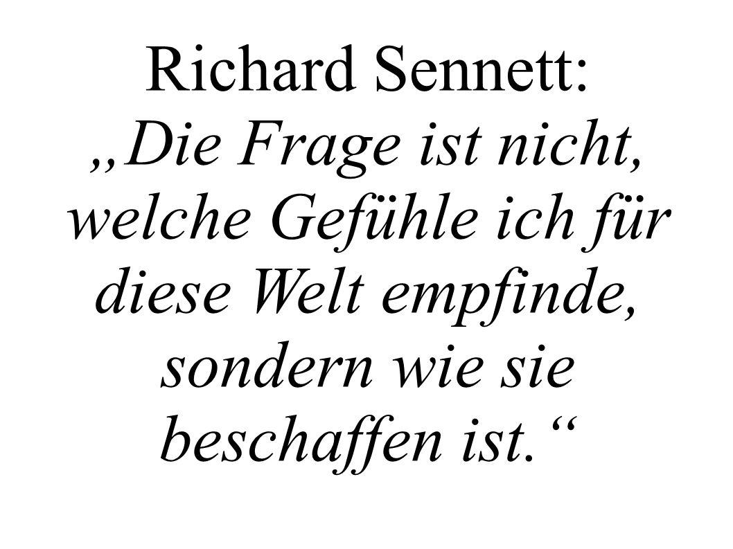 Richard Sennett: Die Frage ist nicht, welche Gefühle ich für diese Welt empfinde, sondern wie sie beschaffen ist.