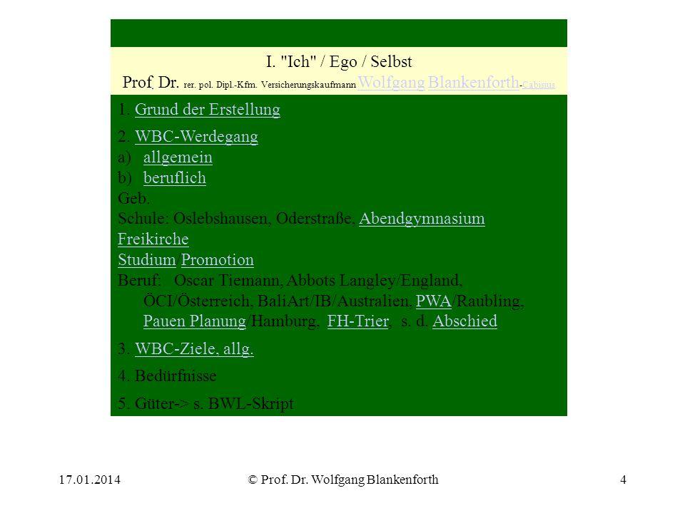 17.01.2014© Prof. Dr. Wolfgang Blankenforth4 I.