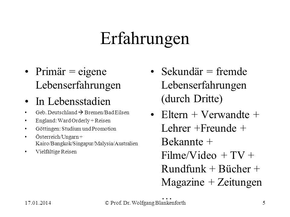 Erfahrungen Primär = eigene Lebenserfahrungen In Lebensstadien Geb. Deutschland Bremen/Bad Eilsen England: Ward Orderly + Reisen Göttingen: Studium un