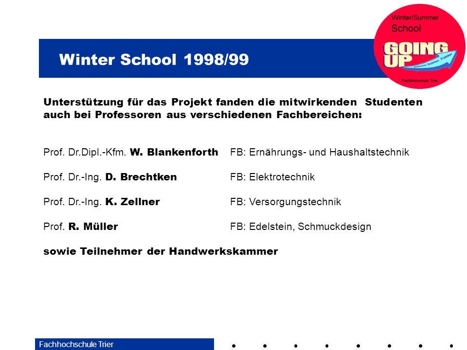 Winter School 1998/99 Fachhochschule Trier Unterstützung für das Projekt fanden die mitwirkenden Studenten auch bei Professoren aus verschiedenen Fach