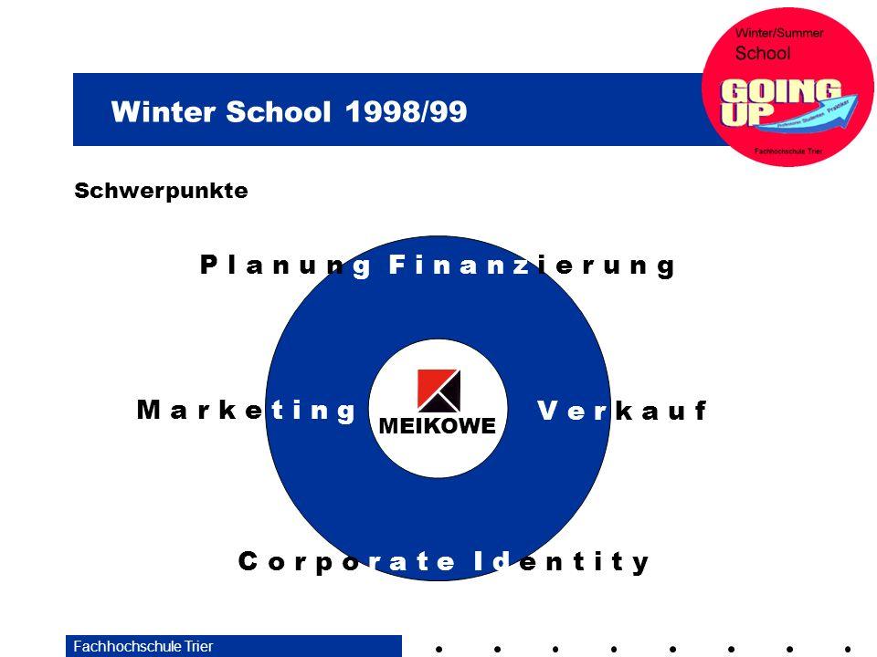 Winter School 1998/99 Fachhochschule Trier Schwerpunkte M a r k e t i n g C o r p o r a t e I d e n t i t y V e r k a u f P l a n u n g F i n a n z i