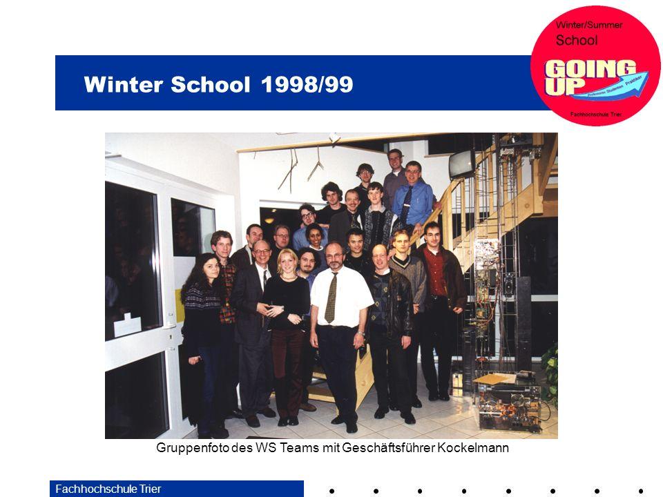 Winter School 1998/99 Fachhochschule Trier Gruppenfoto des WS Teams mit Geschäftsführer Kockelmann