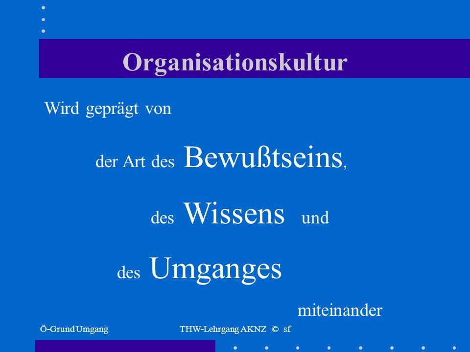 Ö-G UmgangTHW-Lehrgang AKNZ © sf Organisationskultur Was bedeutet das für die praktische Arbeit im Ortsverband?