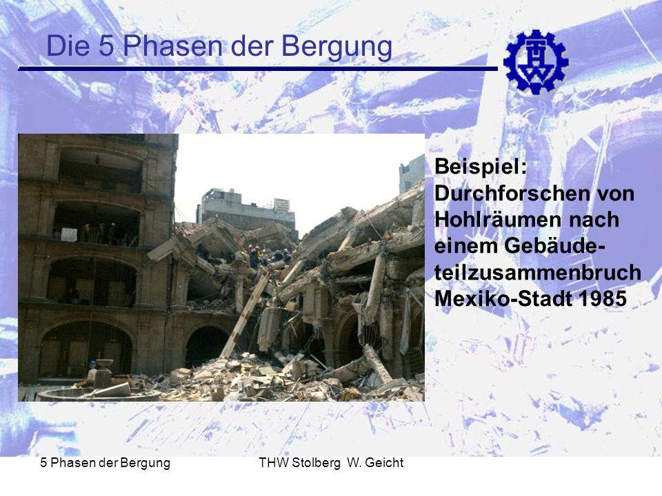 5 Phasen der BergungTHW Stolberg W. Geicht Die 5 Phasen der Bergung Beispiel: Durchforschen von Hohlräumen nach einem Gebäude- teilzusammenbruch Mexik