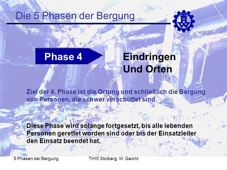 5 Phasen der BergungTHW Stolberg W. Geicht Die 5 Phasen der Bergung Phase 4Eindringen Und Orten Ziel der 4. Phase ist die Ortung und schließlich die B