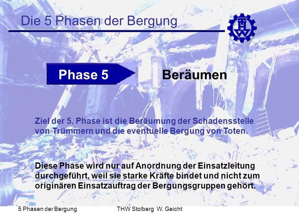 5 Phasen der BergungTHW Stolberg W. Geicht Die 5 Phasen der Bergung Phase 5Beräumen Ziel der 5. Phase ist die Beräumung der Schadensstelle von Trümmer