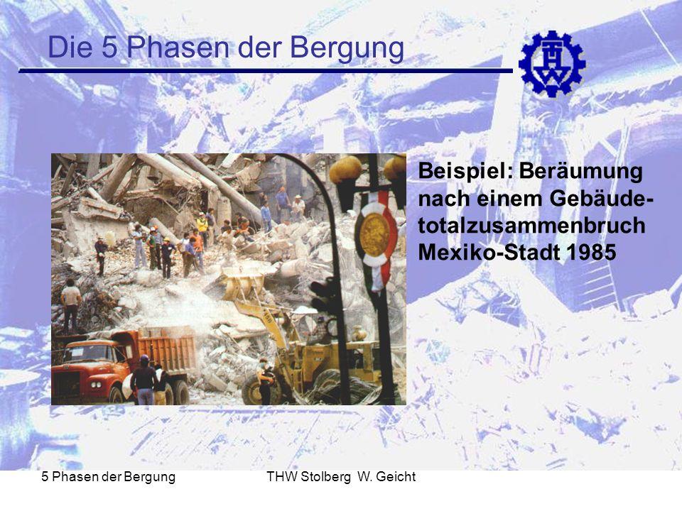 5 Phasen der BergungTHW Stolberg W. Geicht Die 5 Phasen der Bergung Beispiel: Beräumung nach einem Gebäude- totalzusammenbruch Mexiko-Stadt 1985