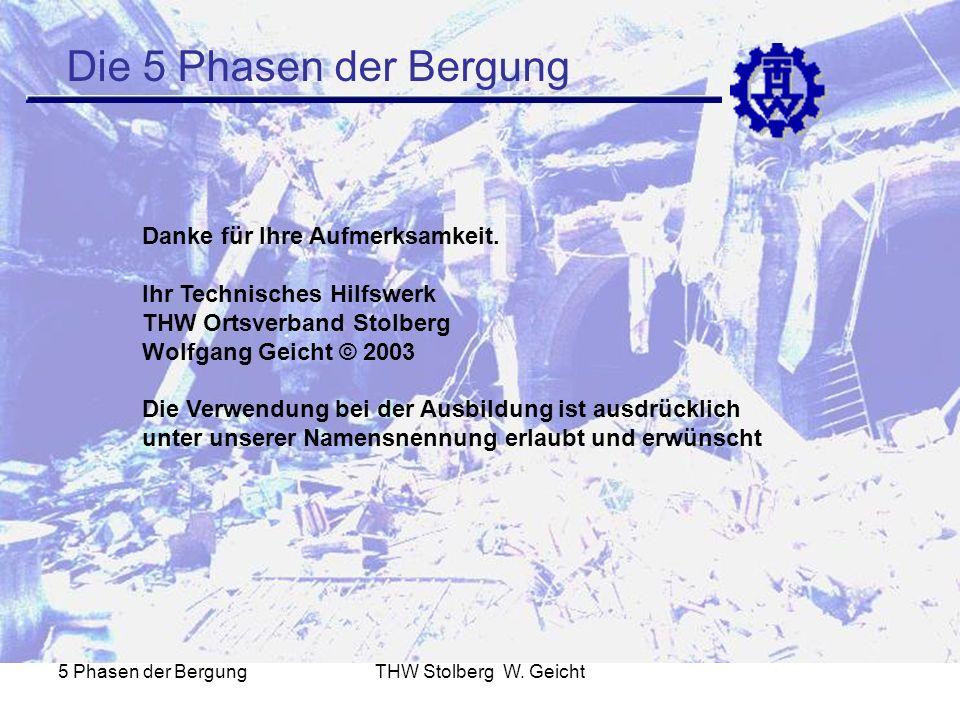 5 Phasen der BergungTHW Stolberg W. Geicht Die 5 Phasen der Bergung Danke für Ihre Aufmerksamkeit. Ihr Technisches Hilfswerk THW Ortsverband Stolberg