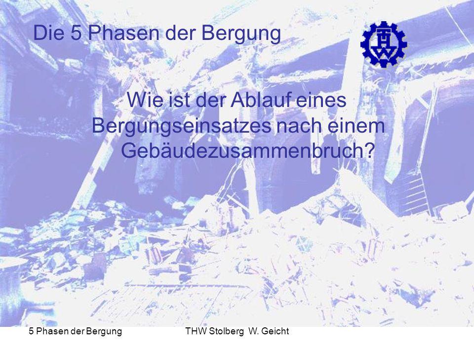 5 Phasen der BergungTHW Stolberg W. Geicht Die 5 Phasen der Bergung Wie ist der Ablauf eines Bergungseinsatzes nach einem Gebäudezusammenbruch?