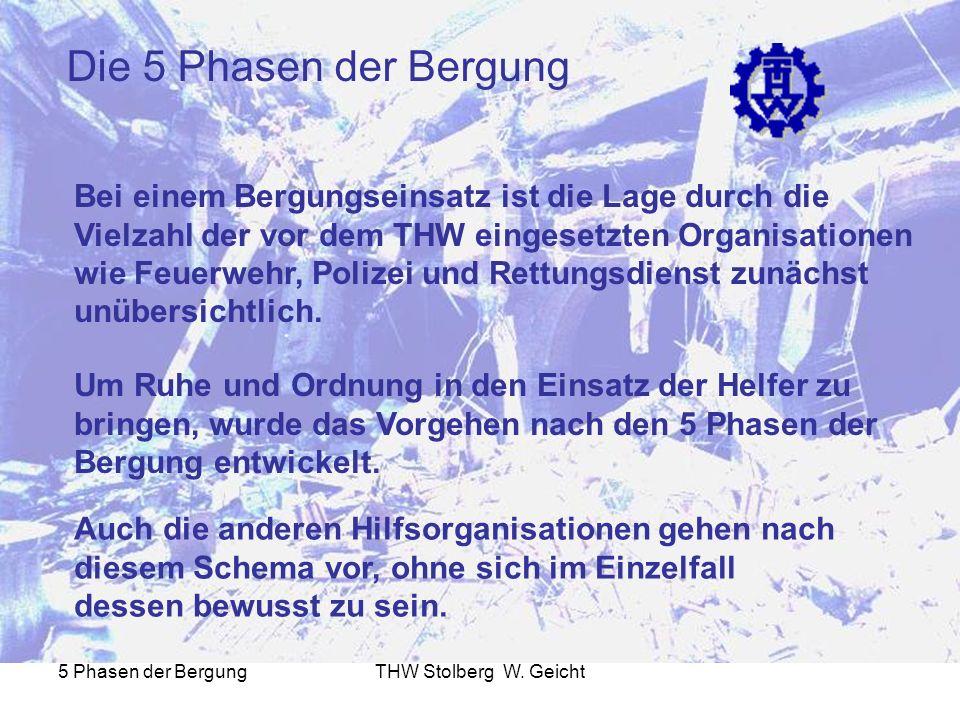 5 Phasen der BergungTHW Stolberg W. Geicht Die 5 Phasen der Bergung Bei einem Bergungseinsatz ist die Lage durch die Vielzahl der vor dem THW eingeset