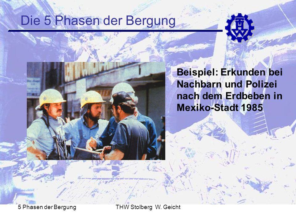 5 Phasen der BergungTHW Stolberg W. Geicht Die 5 Phasen der Bergung Beispiel: Erkunden bei Nachbarn und Polizei nach dem Erdbeben in Mexiko-Stadt 1985