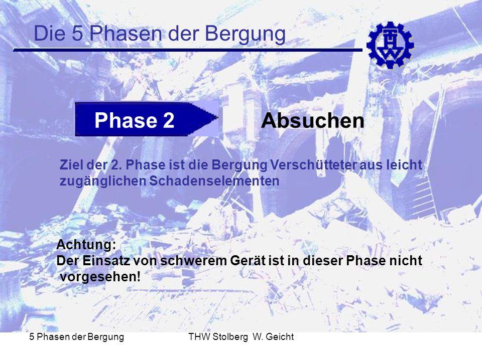 5 Phasen der BergungTHW Stolberg W. Geicht Die 5 Phasen der Bergung Phase 2Absuchen Ziel der 2. Phase ist die Bergung Verschütteter aus leicht zugängl