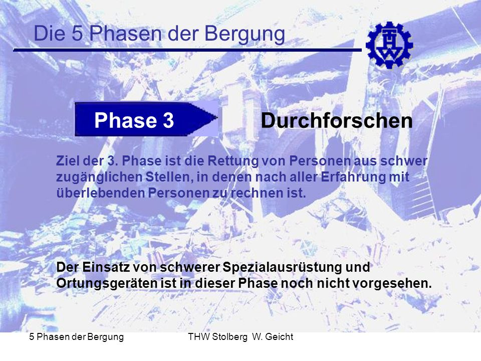 5 Phasen der BergungTHW Stolberg W. Geicht Die 5 Phasen der Bergung Phase 3Durchforschen Ziel der 3. Phase ist die Rettung von Personen aus schwer zug