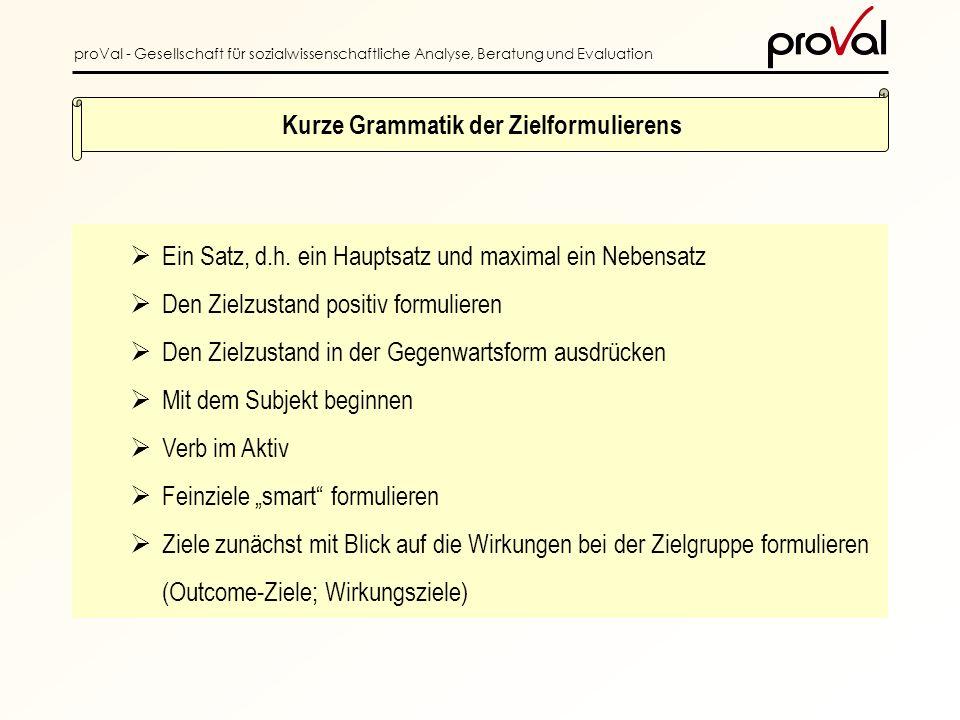 proVal - Gesellschaft für sozialwissenschaftliche Analyse, Beratung und Evaluation Ein Satz, d.h.