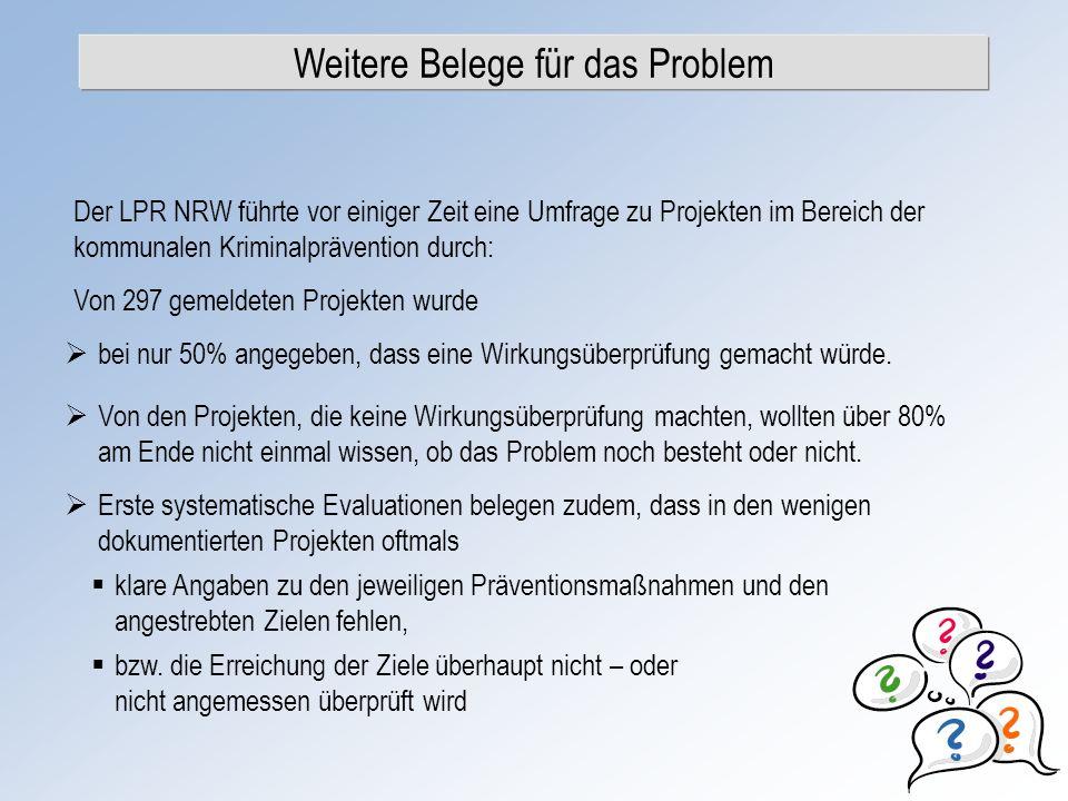 Weitere Belege für das Problem Der LPR NRW führte vor einiger Zeit eine Umfrage zu Projekten im Bereich der kommunalen Kriminalprävention durch: Von 2