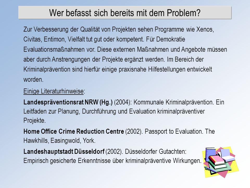 Wer befasst sich bereits mit dem Problem? Zur Verbesserung der Qualität von Projekten sehen Programme wie Xenos, Civitas, Entimon, Vielfalt tut gut od