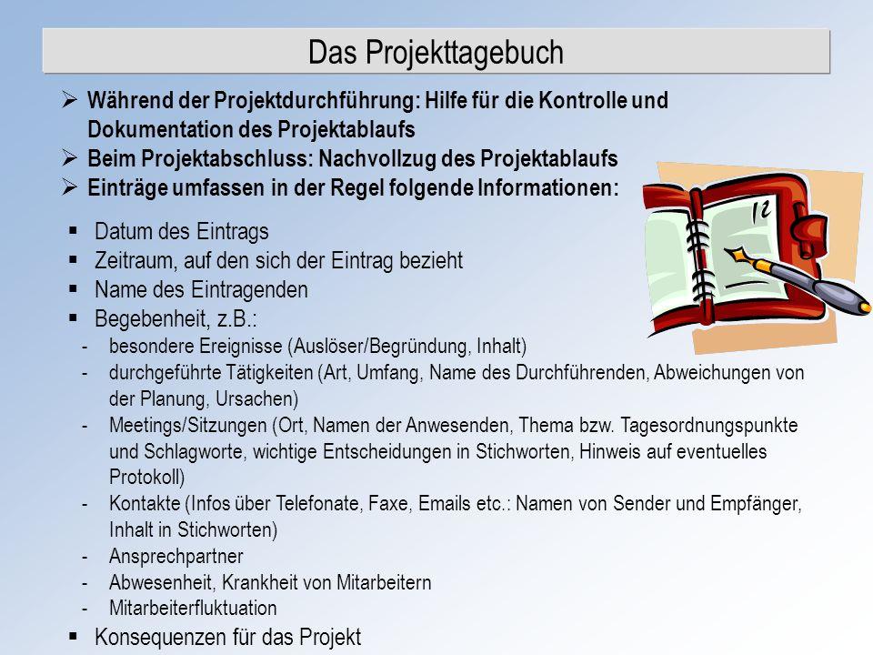 Das Projekttagebuch Während der Projektdurchführung: Hilfe für die Kontrolle und Dokumentation des Projektablaufs Beim Projektabschluss: Nachvollzug d