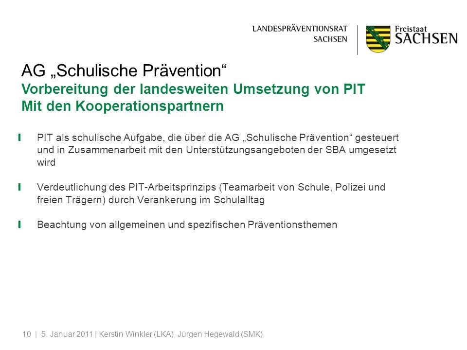 | 5. Januar 2011 | Kerstin Winkler (LKA), Jürgen Hegewald (SMK)10 AG Schulische Prävention Vorbereitung der landesweiten Umsetzung von PIT Mit den Koo