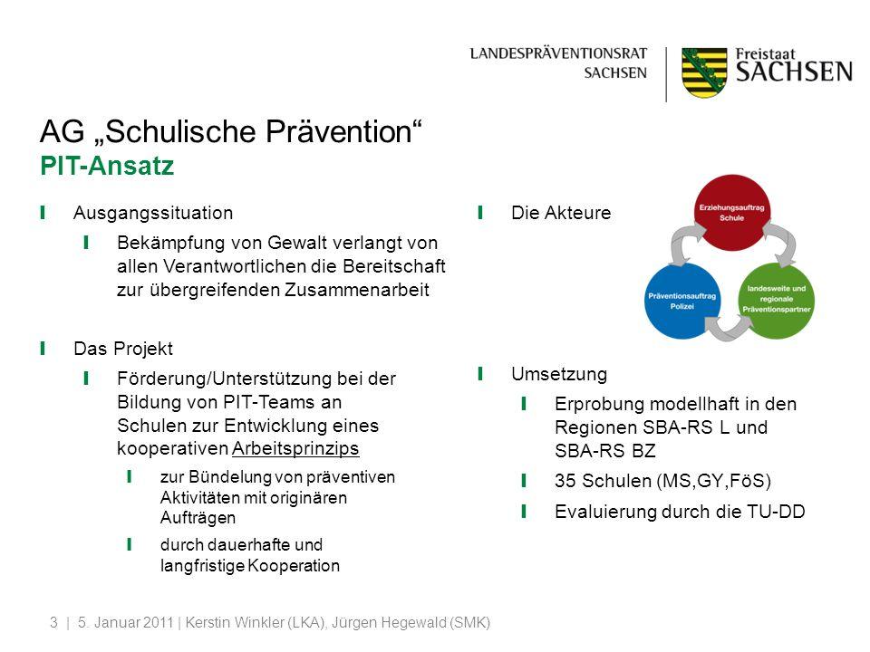 | 5. Januar 2011 | Kerstin Winkler (LKA), Jürgen Hegewald (SMK)3 AG Schulische Prävention PIT-Ansatz Ausgangssituation Bekämpfung von Gewalt verlangt