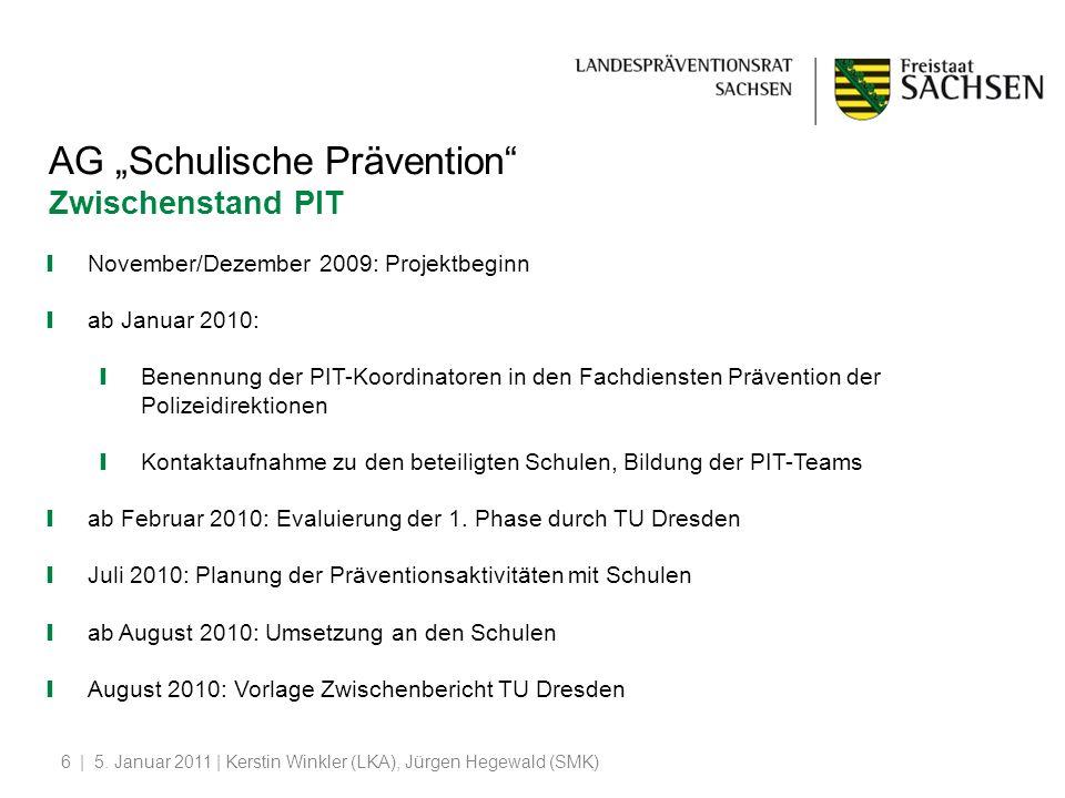   5. Januar 2011   Kerstin Winkler (LKA), Jürgen Hegewald (SMK)6 AG Schulische Prävention Zwischenstand PIT November/Dezember 2009: Projektbeginn ab J