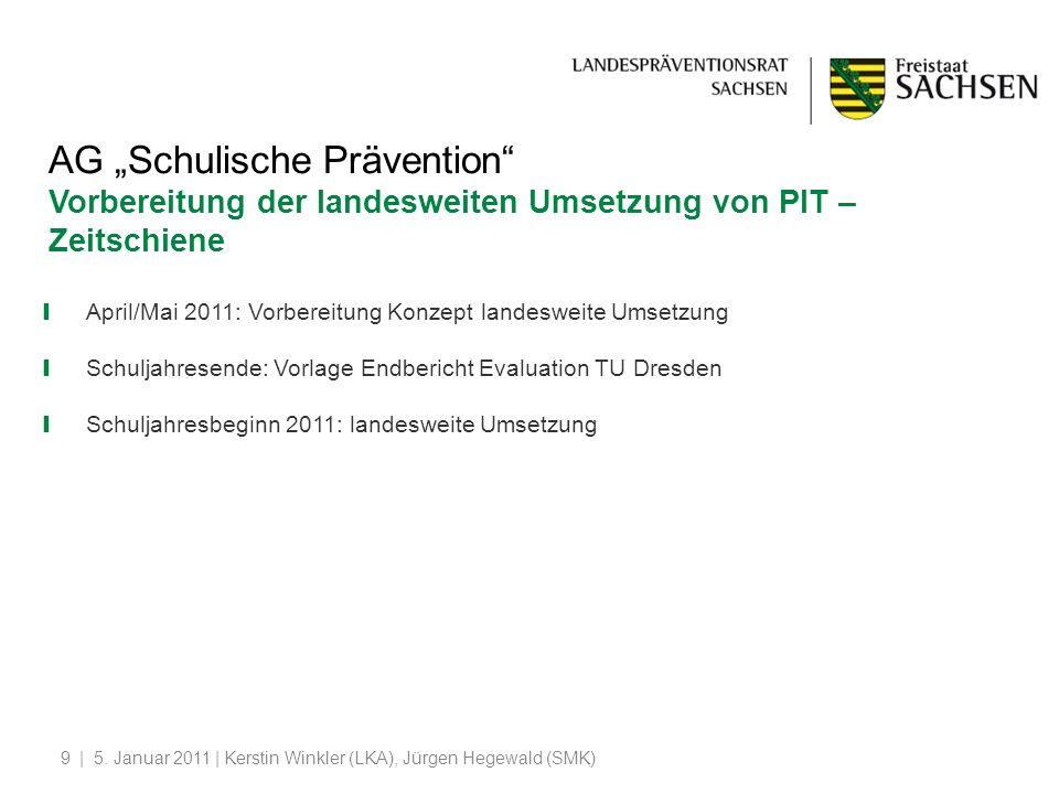 | 5. Januar 2011 | Kerstin Winkler (LKA), Jürgen Hegewald (SMK)9 AG Schulische Prävention Vorbereitung der landesweiten Umsetzung von PIT – Zeitschien