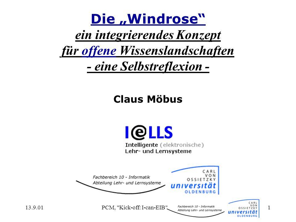 13.9.01PCM, Kick-off: I-can-EIB 2 Inhalt (1/2) die Abteilung I@LLSI@LLS theoretische Positionen der Didaktik anerkannte Qualitätskriterien Definition Tele-Learning Standardisierung e-Learning nach LTSA