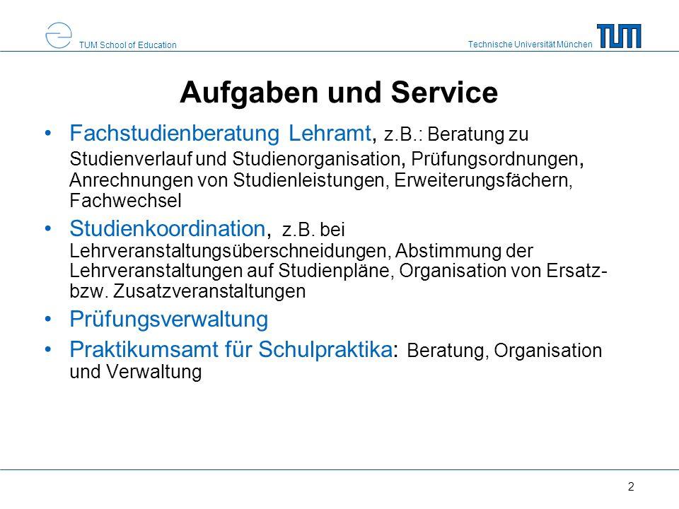 Technische Universität München TUM School of Education 2 Aufgaben und Service Fachstudienberatung Lehramt, z.B.: Beratung zu Studienverlauf und Studie