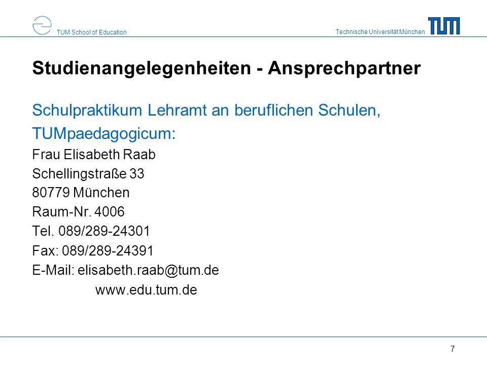 Technische Universität München TUM School of Education 8 TUM Online - LOGIN & PRÜFUNGSANMELDUNG https://campus.tum.de - genaue Angaben zur Prüfungsanmeldung und zu TUM Online über die ausliegenden Flyer - Aktuelle Information zu TUM Online unter: http://portal.mytum.de/iuk/cm/prm/dokumente - Für Rückfragen oder Probleme wenden Sie sich bitte an den Helpdesk per E-Mail: it-support@tum.de