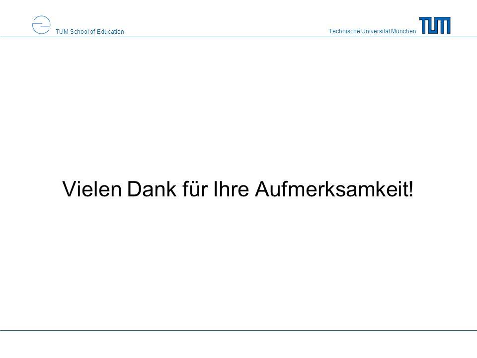 Technische Universität München TUM School of Education Vielen Dank für Ihre Aufmerksamkeit!
