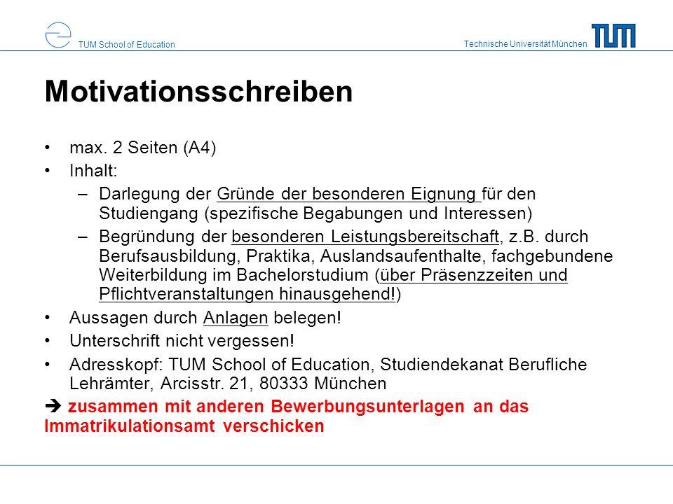 Technische Universität München TUM School of Education Gesamtpunktezahl 2.