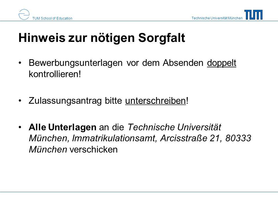 Technische Universität München TUM School of Education Eignungsverfahren 2-stufiger Aufbau 1.