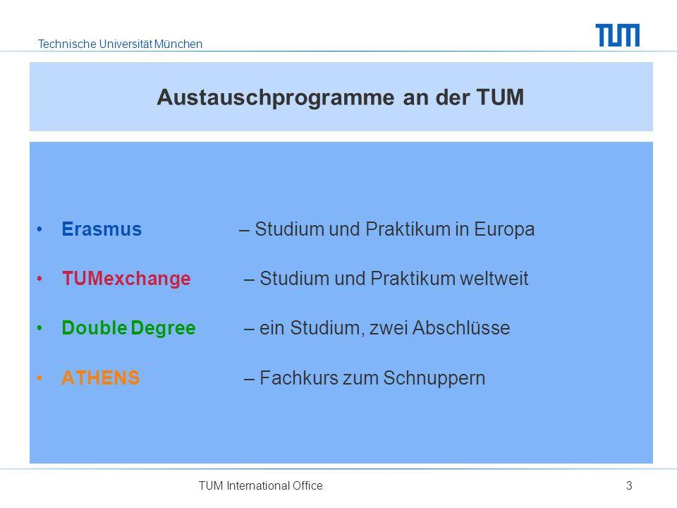 Technische Universität München TUM International Office3 Austauschprogramme an der TUM Erasmus – Studium und Praktikum in Europa TUMexchange – Studium und Praktikum weltweit Double Degree – ein Studium, zwei Abschlüsse ATHENS – Fachkurs zum Schnuppern