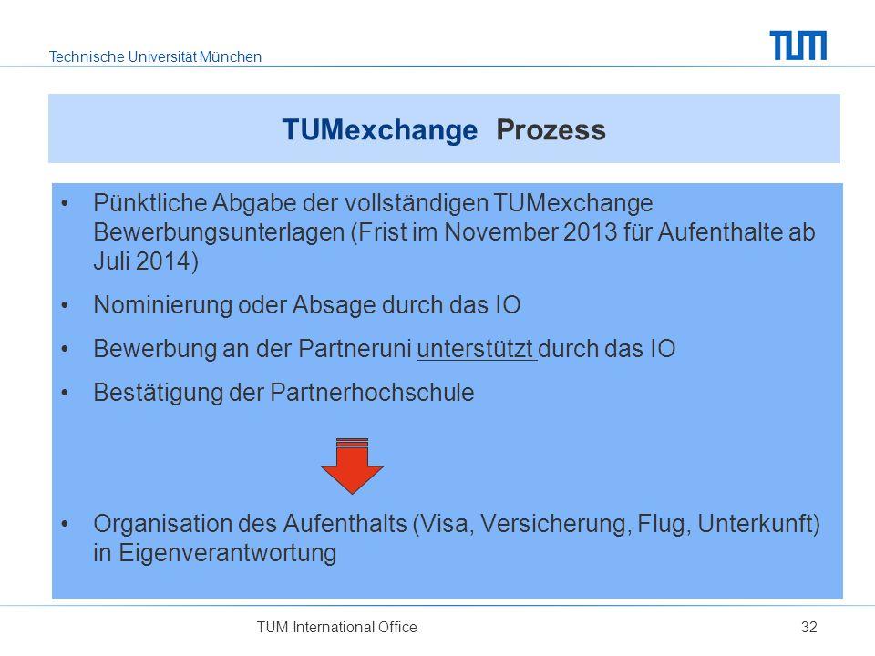 Technische Universität München TUM International Office32 TUMexchange Prozess Pünktliche Abgabe der vollständigen TUMexchange Bewerbungsunterlagen (Fr
