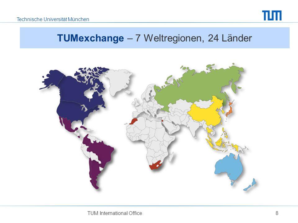 Technische Universität München TUM International Office8 TUMexchange – 7 Weltregionen, 24 Länder