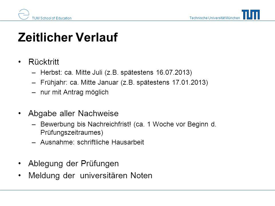 Technische Universität München TUM School of Education Zeitlicher Verlauf Rücktritt –Herbst: ca. Mitte Juli (z.B. spätestens 16.07.2013) –Frühjahr: ca