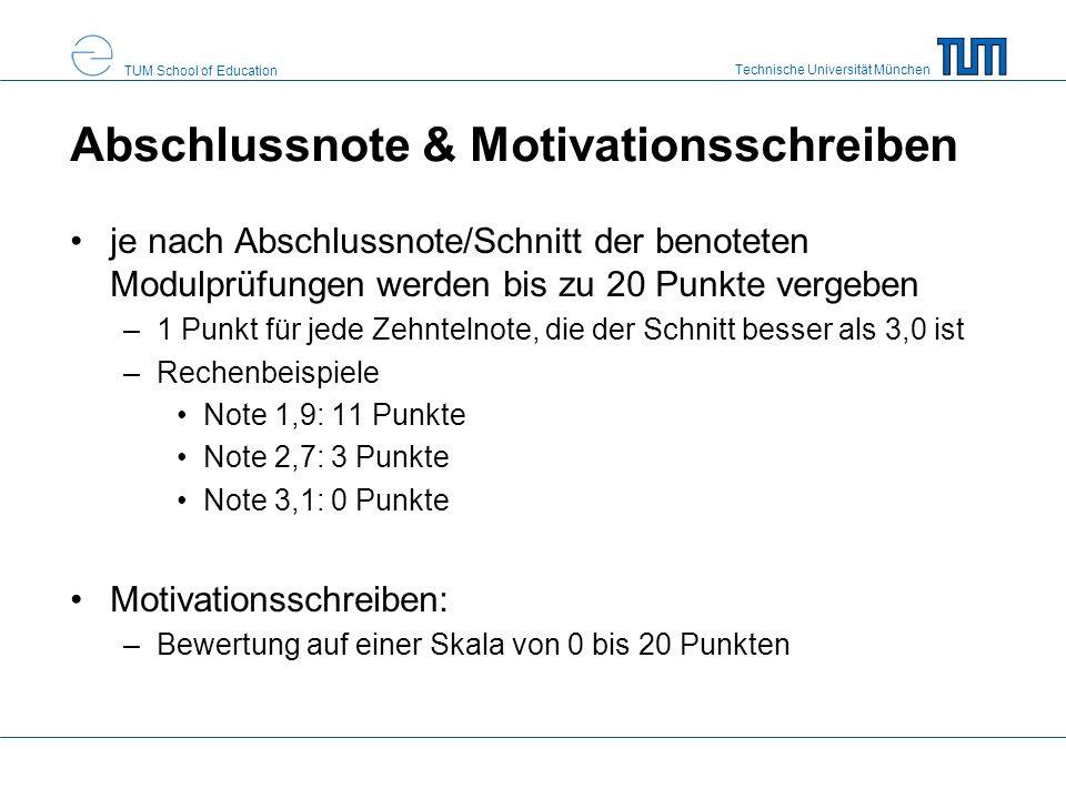 Technische Universität München TUM School of Education Abschlussnote & Motivationsschreiben je nach Abschlussnote/Schnitt der benoteten Modulprüfungen werden bis zu 20 Punkte vergeben –1 Punkt für jede Zehntelnote, die der Schnitt besser als 3,0 ist –Rechenbeispiele Note 1,9: 11 Punkte Note 2,7: 3 Punkte Note 3,1: 0 Punkte Motivationsschreiben: –Bewertung auf einer Skala von 0 bis 20 Punkten