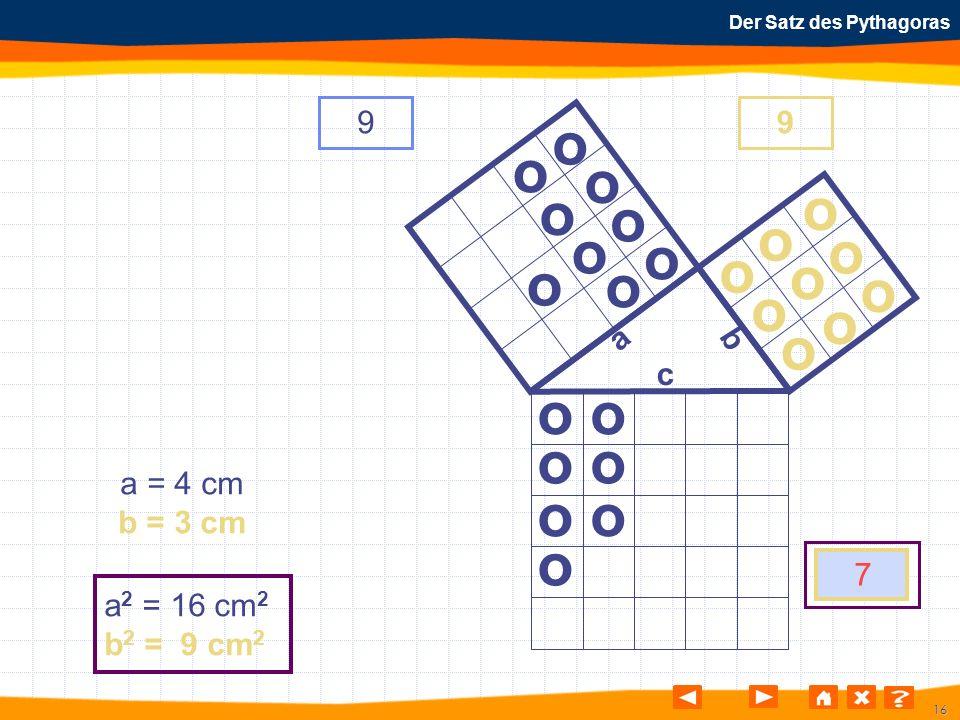 16 Der Satz des Pythagoras o o o o o o o o o o o o o o o o o o o o o o o o o a b c a = 4 cm b = 3 cm a 2 = 16 cm 2 b 2 = 9 cm 2 99 7