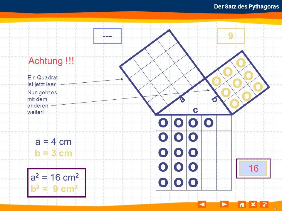 26 Der Satz des Pythagoras Nun geht es mit dem anderen weiter! Achtung !!! Ein Quadrat ist jetzt leer. o o o o o o o o o o o o o o o o o o o o o o o o