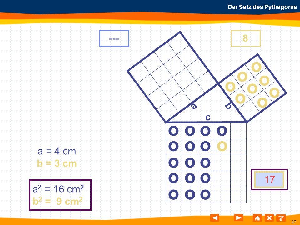 27 Der Satz des Pythagoras o o o o o o o o o o o o o o o o o o o o o o o o a b c a = 4 cm b = 3 cm a 2 = 16 cm 2 b 2 = 9 cm 2 ---8 17 o