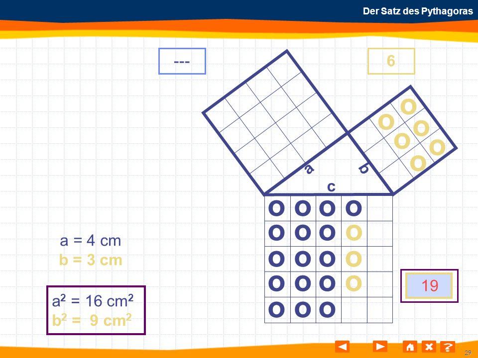 29 Der Satz des Pythagoras o o o o o o o o o o o o o o o o o o o o o o o o a b c a = 4 cm b = 3 cm a 2 = 16 cm 2 b 2 = 9 cm 2 ---6 19 o