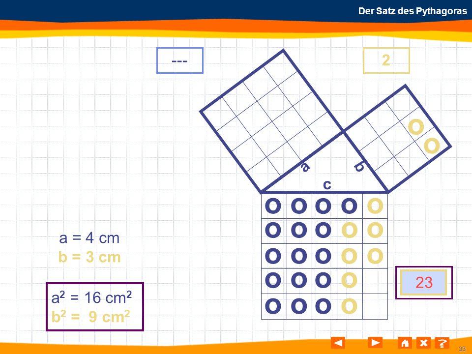 33 Der Satz des Pythagoras o o o o o o o o o o o o o o o o o o o o o o o o a b c a = 4 cm b = 3 cm a 2 = 16 cm 2 b 2 = 9 cm 2 ---2 23 o