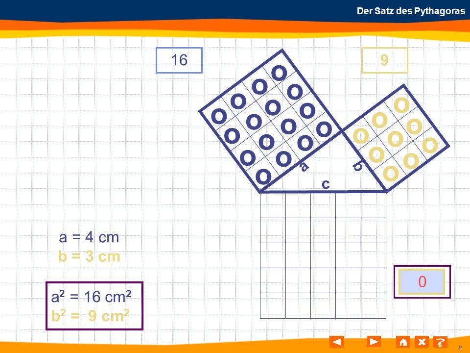 9 Der Satz des Pythagoras o o o o o o o o o o o o o o o o o o o o o o o o o a b c a = 4 cm b = 3 cm a 2 = 16 cm 2 b 2 = 9 cm 2 169 0